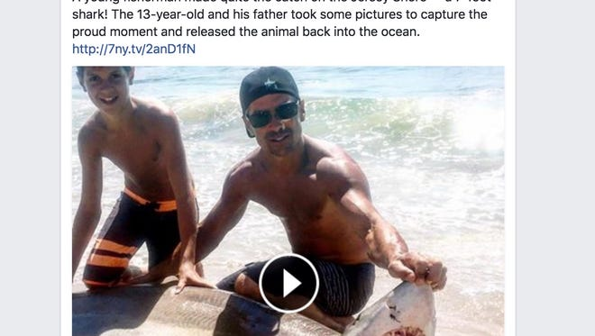 Gianni Mandile and his dad, Joe, were fishing along Long Beach Island when Gianni felt a strong pull on his line, WABC-TV reported.