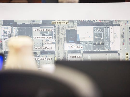 A map of the Iowa City pedestrian mall is put on display