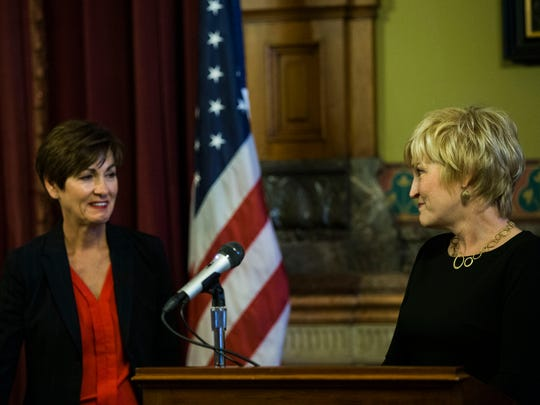 Susan Christensen, of Harlan, thanks Governor Kim Reynolds for choosing her as the next Supreme Court justice on Wednesday, Aug. 1, 2018, in the Iowa State Capitol.