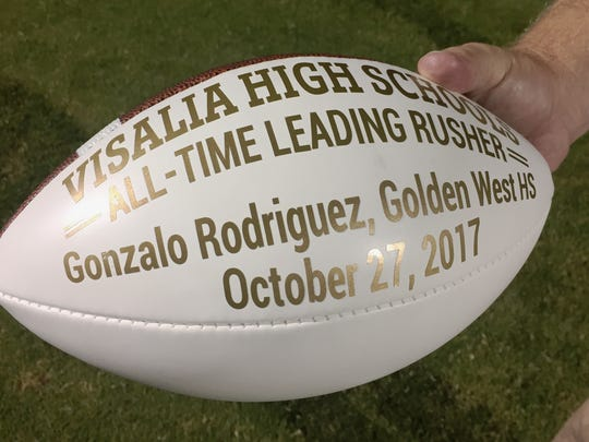 Golden West's Gonzalo Rodriguez set a new record for all-time rushing in Visalia High Schools on Friday, October 27, 2017.
