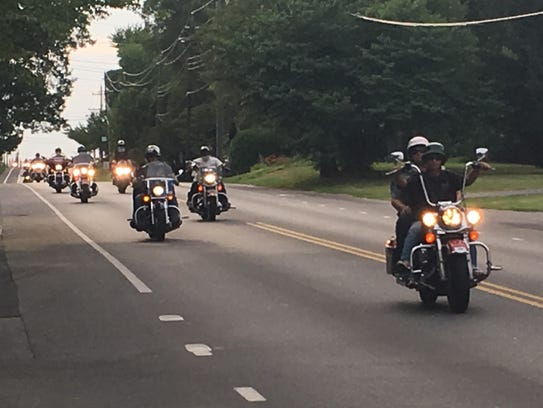 Riders cruise down Main Street in Waynesboro on Tuesday