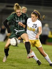 Elco's Emily Bidelspach fights for possession against