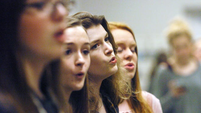 From right Seymour High School sophomore Diana Logan, senior Shelby Ribblett, junior Lexie Forester and sophomore Elizabeth Bogardus sing during Seymour's a cappella group rEagle Harmonix's rehearsal at Seymour High School. The ensemble has been chosen to work with Pentatonix bass singer Avi Kaplan at a workshop on Jan. 28 along with a group from Bearden High School.