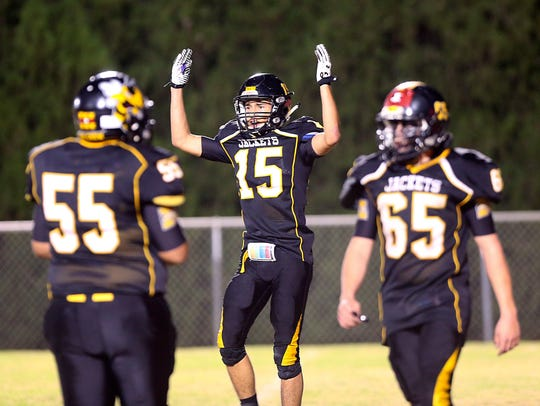Menard High School's Brody Baugh was a dual threat at receiver and defensive back in 2017.