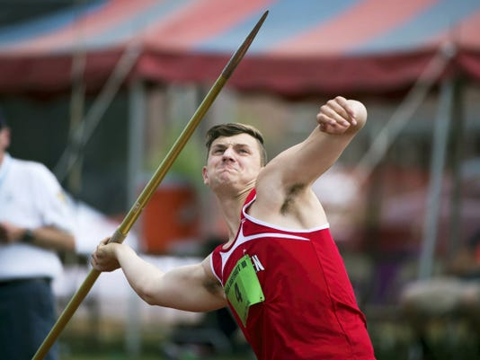 Annville-Cleona's Adam Fox won the boys AA javelin with a throw of 173- 7 during day one of the PIAA District 3 Track and Field Championships at Shippensburg University on Friday.