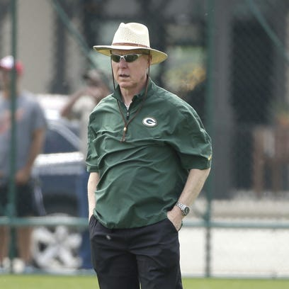 Green Bay Packers general manger Ted Thompson during minicamp at Ray Nitschke Field.