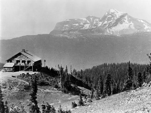 Granite Park Chalet with Heavens Peak in the background, circa 1925. T. J. Hileman, photographer.