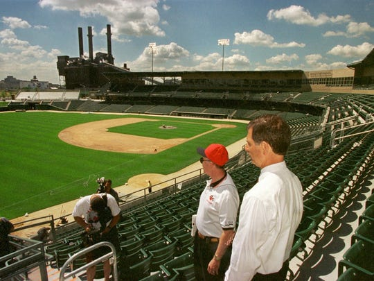 Indianapolis Indians president chairman Max Schumacher and former Mayor Stephen Goldsmith tour Victory Field on July 9, 1996.