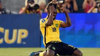 Jamaica forward Owayne Gordon reacts after beating Mexico at Rose Bowl.