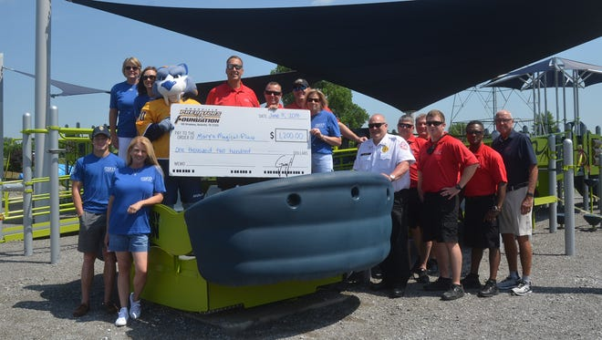 The Hendersonville Fire Department and Nashville Predators Foundation recently donated $1,200 to the all-inclusive playground Mary's Magical Place in Hendersonville.