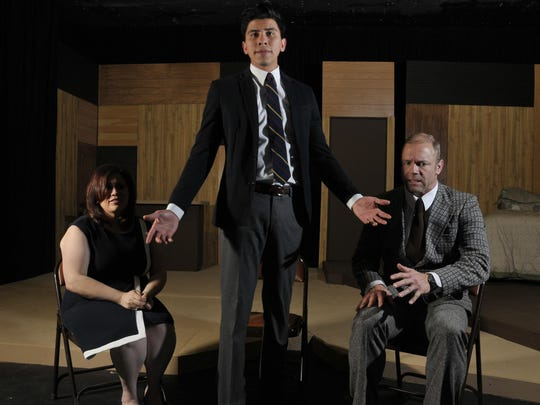 """Jennifer Toledo left, Chris Dorado and Peter Sommers star in the Visalia Players' production of """"The Graduate."""""""