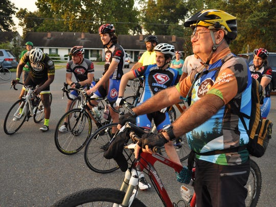 Cyclists gather at the Kent Plantation House Saturday morning to train for Le Tour de Bayou.