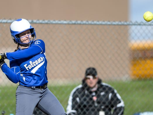 Cedar Crest's Jenna Sloss looks to connect on a pitch