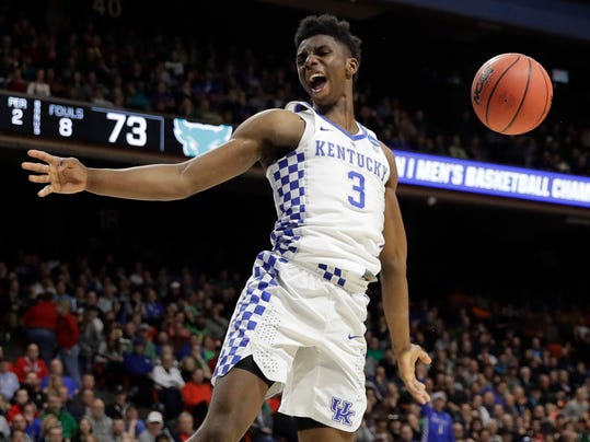 Kentucky guard Hamidou Diallo reacts after a dunk against Buffalo during the second half of a second-round game in the NCAA men's college basketball tournament Saturday, March 17, 2018, in Boise, Idaho. (AP Photo/Otto Kitsinger)
