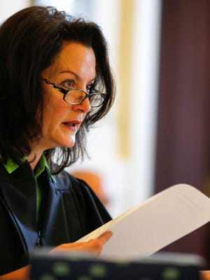 Judge Leslie Ghiz presides over a pretrial hearing, Friday, May 26, 2017, in at the Hamilton County Courthouse in Cincinnati.