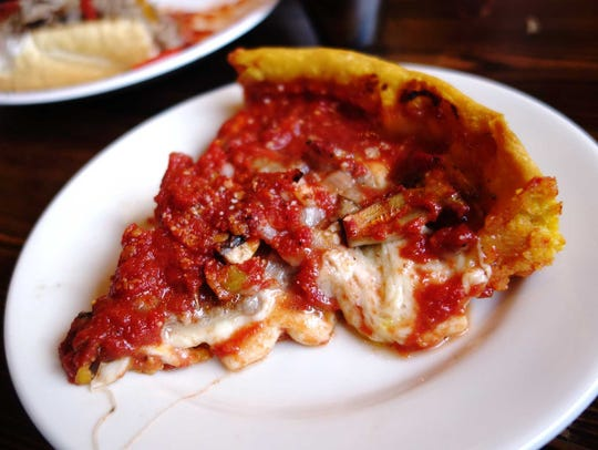 Deep-dish pizza at Gino's East