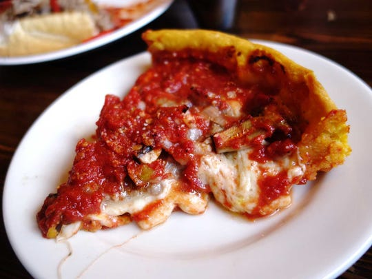 Deep-dish pizza at Gino's East