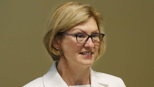 Debra Minott, secretary of the Indiana Family and Social Services Administration, talks June 13, 2014, about Gov. Mike Pence's Healthy Indiana Plan and the future of health care in the state at St. Elizabeth East Hospital, Lafayette.
