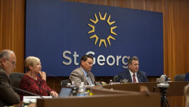 St. George City Council members Ed Baca, left, Bette Arial and Jimmie Hughes are pictured alongside Mayor Jon Pike in this file photo from a meeting that took place Thursday, Nov. 3, 2016