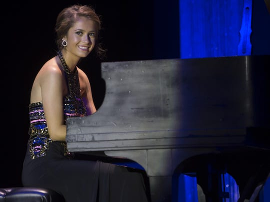 Miss Door County's Outstanding Teen Ashton Spritka performs in the talent portion of the Miss Wisconsin Outstanding Teen scholarship pageant at the Alberta Kimball Auditorium on June 19.
