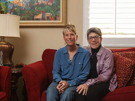 Ronni Sanlo, right, and wife, Kelly Watson, at their home in Palm Springs, December 4, 2017.
