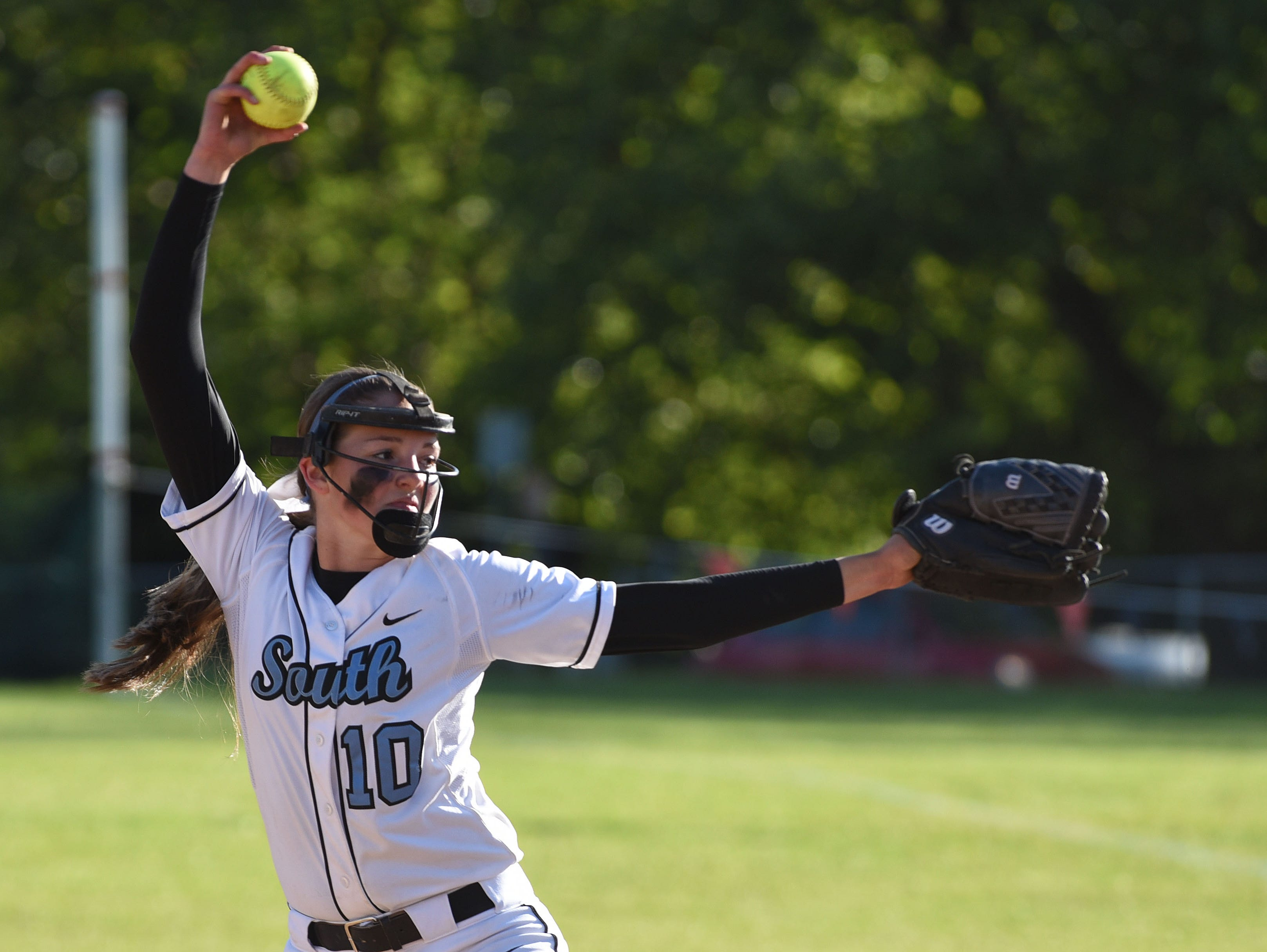 South Salem's Maygen McGrath pitches as the Saxons defeat Sprague 7-6 in the second round of the OSAA Class 6A state playoffs on Wednesday, May 27, 2015.