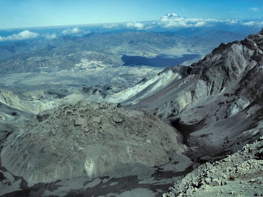 A view of the dome in the crater of Mount St. Helens is seen from the rim in summertime in 1992.