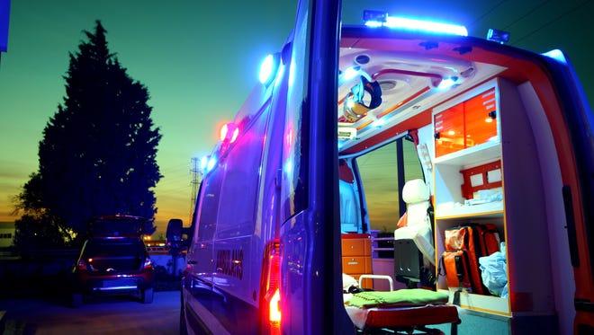 Emergency Ambulance at sunset.