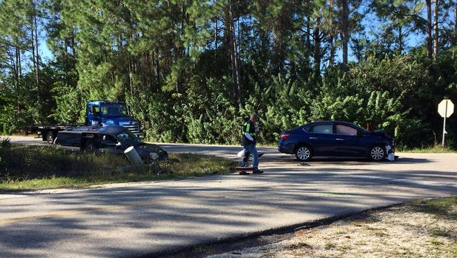 Two people were taken to area hospitals with injuries after a two-vehicle crash on Richmond and E. 7th in Lehigh Acres on Monday.