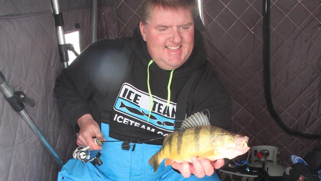 "Steve ""Zippy"" Dahl holds a 14-inch yellow perch caught ice fishing on Devils Lake in North Dakota. Dahl runs a guide service called Perch Patrol that targets the lake's world-renowned perch population."