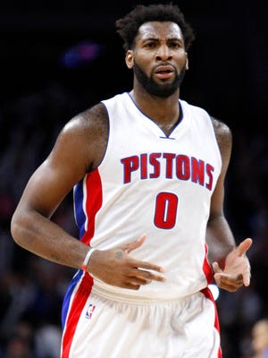Pistons center Andre Drummond (0) reacts to a call during the third quarter of the Pistons' 115-89 win over the Magic Monday at the Palace.