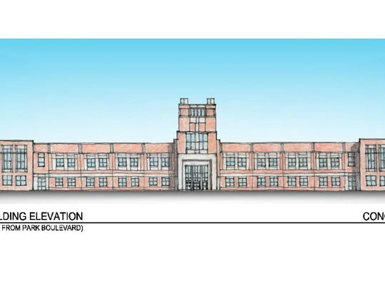 A rendering shows the concept for the new Camden High School chosen by community members; the district will give its recommendation to the Schools Development Authority.