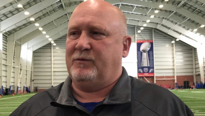 Giants linebackers coach and Bergen Catholic alum Bill McGovern discusses the prospects of his position group and the progress he has seen this offseason Wednesday in East Rutherford, N.J.