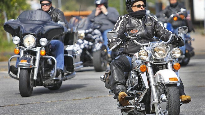 Hundreds of motorcyclists gathered in Whitman for an America Backs the Blue rolling motorcycle rally on the South Shore that ended in Weymouth on Sunday, Sept. 20, 2020.