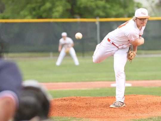 South Gibson's Keaton Johnson (10) pitches against Westview in the District 13-AA tournament at Medina Park on May 3, 2018.