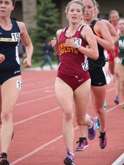 St. Cloud Christian School graduate McKenzie Holt (maroon) runs in a track and field meet for the University of Minnesota-Duluth. Holt had to leave school during indoor track season last winter because of a health scare.
