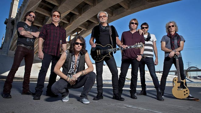 The members of the band Foreigner, who will be playing at the Giant Center in Hershey July 15. The band is celebrating its 40th anniversary this year.  From left, Chris Frazier, Tom Gimbel, Kelly Hansen, Mick Jones, Jeff Pilson, Mike Bluestein and Bruce Watson.