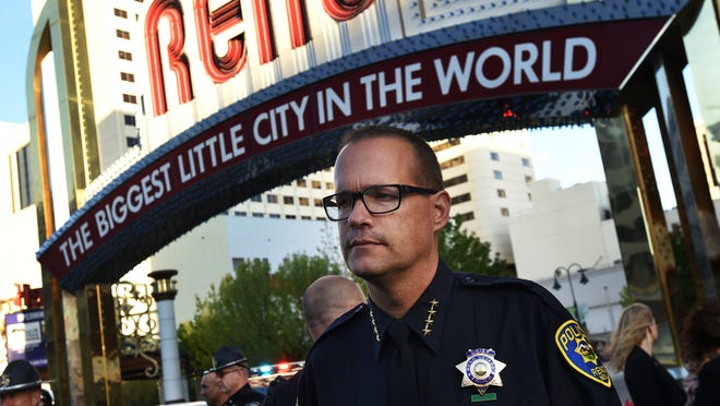 Interim Reno Police Chief Jason Soto attends a ceremony to honor fallen police officers under the Reno Arch on May 1, 2015.