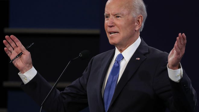 Democratic presidential nominee Joe Biden participates in the final presidential debate at Belmont University in Nashville, Tennessee, on Thursday, October 22, 2020.