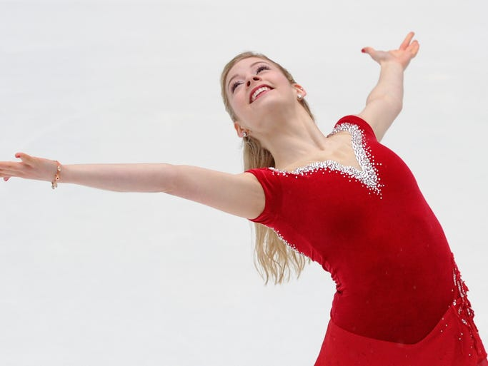 NEW YORK, NY - JANUARY 14:  Olympic figure skater Gracie Gold performs at The Rink at Rockefeller Center on January 14, 2014 in New York City.