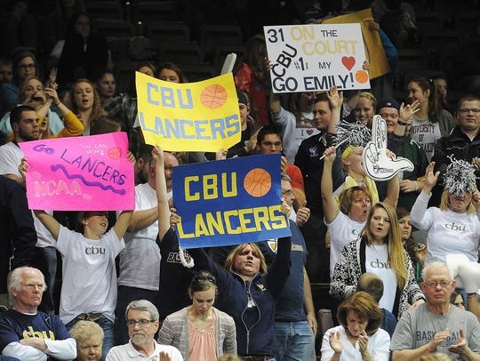 California Baptist fans cheer on their team during