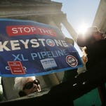People demonstrate against the Keystone pipeline in New York City on Tuesday.