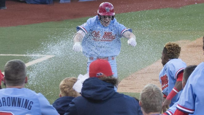 Catcher Henri Lartigue celebrates after hitting a game-winning home run against Kentucky two weeks ago.