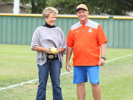 San Angelo Central High School head softball coach David Millsap shares a laugh with Gail Stillwell, the Lady Cats' first head coach, before the District 8-6A finale against Killeen Shoemaker at the Central Softball Complex on Friday, April 20, 2018. Stillwell threw out the ceremonial first pitch.