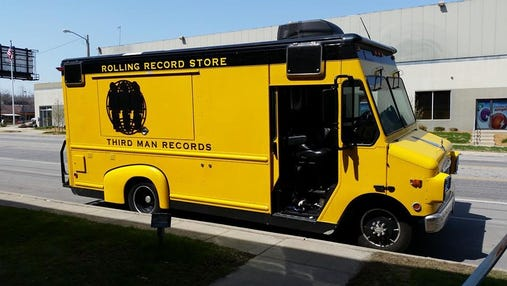 The Third Man Records Rolling Record Store, photographed outside ZZZ Records in 2015. The store returns to the sidewalk outside ZZZ on Sept. 27.