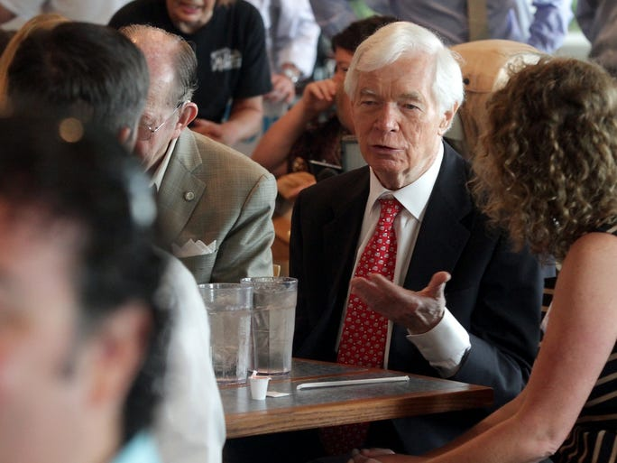 Sen. Thad Cochran speaks with supporters at McElroy's during a final campaign stop in Ocean Springs, Miss., on Tuesday, June 24, 2014.