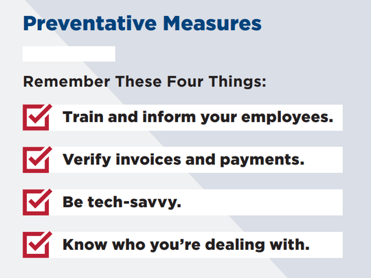 The BBB recommends these measures in avoiding small-business scams.