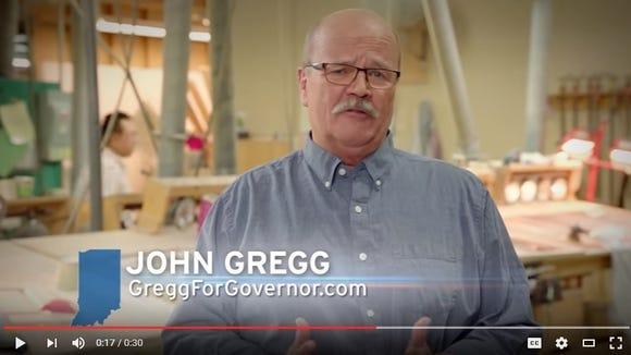 Screen shot of John Gregg's first campaign advertisement.