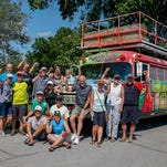 Omaha-based Team Pump is a 1959 school bus, and one of the oldest operating team busses in RAGBRAI. The paint job was done by an Omaha high school graffiti class.