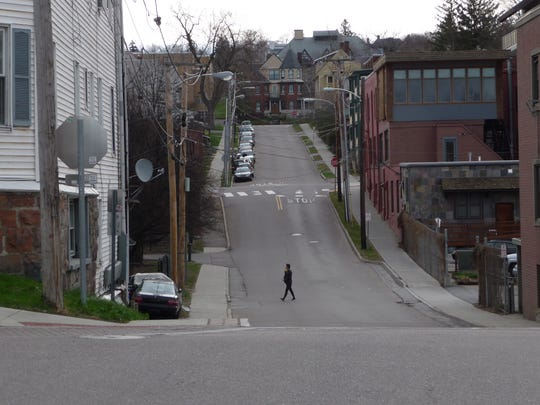 A Ravine remnant, seen in this view of King Street as it rises (and falls) east of lower Church Street.